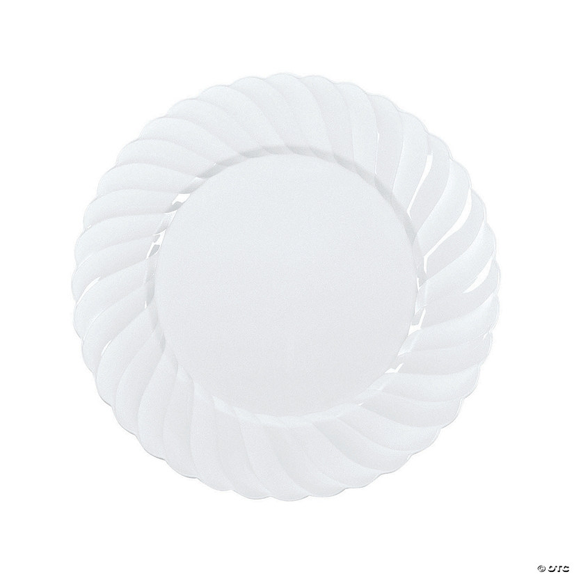 "10"" Premium White Elegance Plastic Dinner Plates - 25 Ct. Audio Thumbnail"