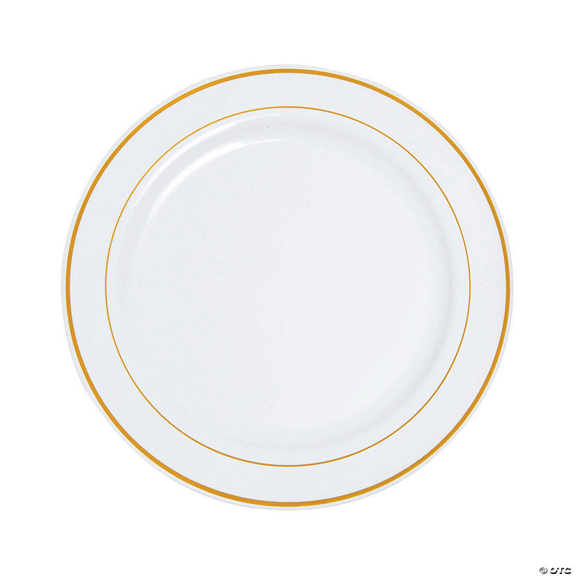 "10"" Premium White Plastic Dinner Plates with Gold Trim - 25 Ct. Audio Thumbnail"