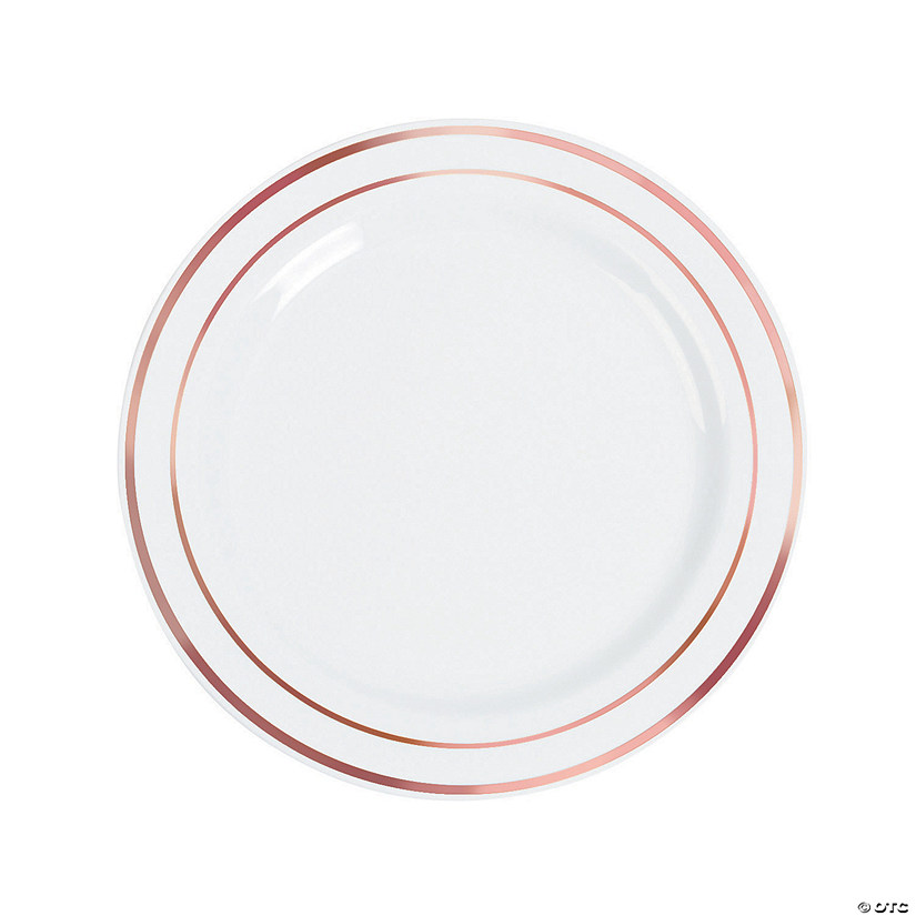 "10"" Premium White Plastic Dinner Plates with Rose Gold Trim - 25 Ct. Audio Thumbnail"