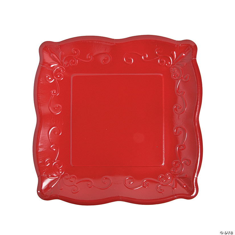 "10"" Red Scalloped Edge Paper Dinner Plates - 8 Ct. Audio Thumbnail"