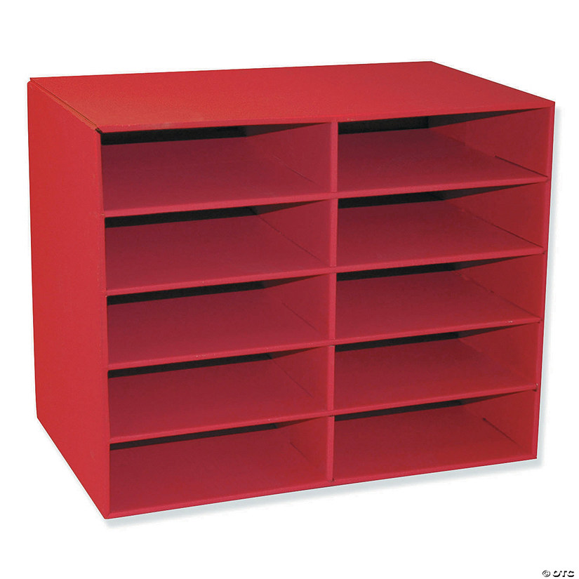 "10-Shelf Organizer, Red, 17""H x 21""W x 12-7/8""D Audio Thumbnail"
