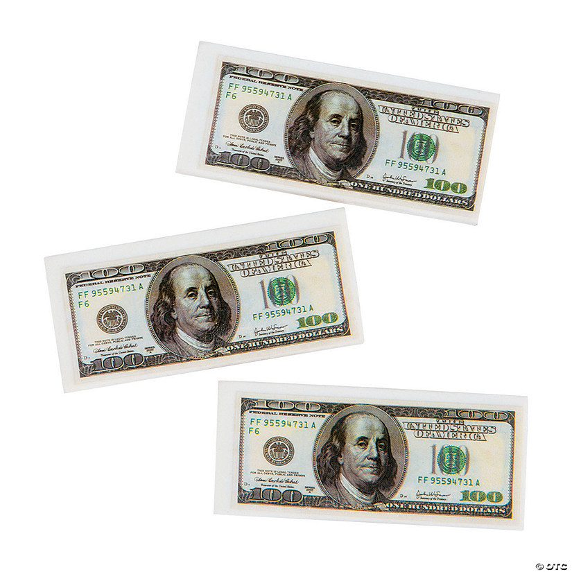 $100 Bill Erasers - 12 Pc. Audio Thumbnail