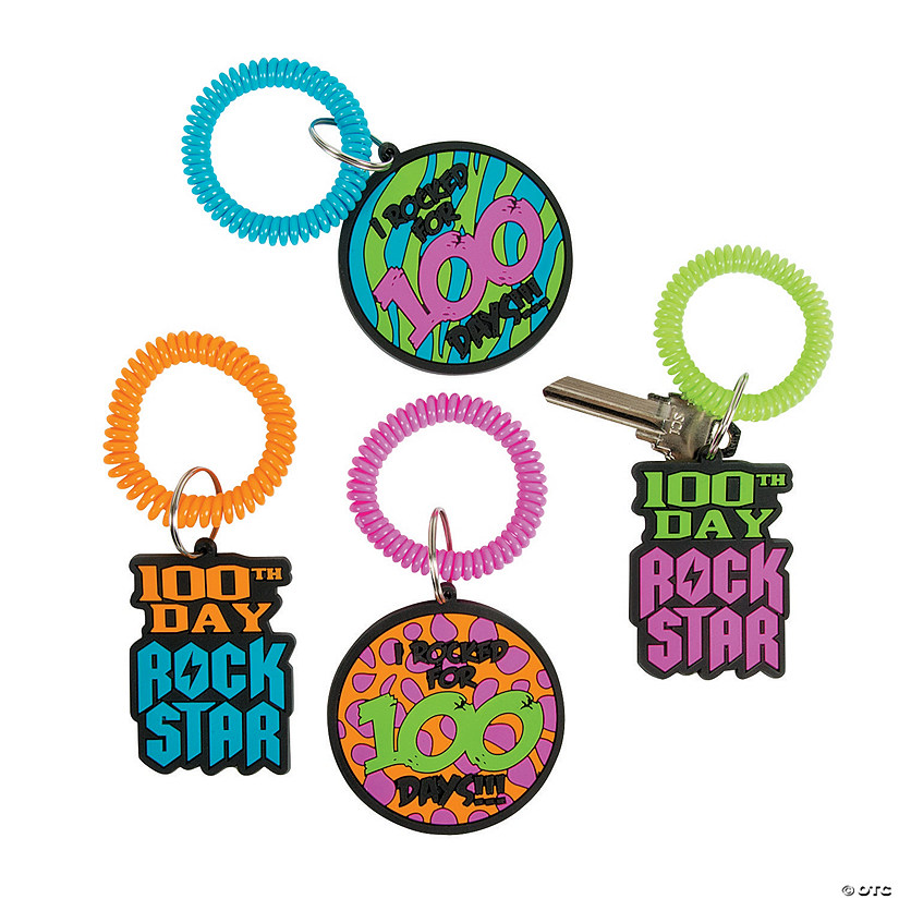 100th Day of School Rock Star Keychains