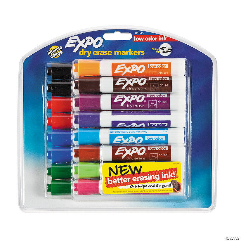 12-Color Expo® Low Odor Dry Erase Markers