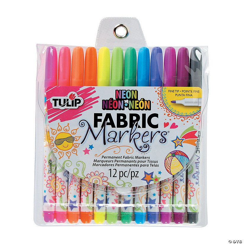 12-Color Neon Tulip<sup>&#174;</sup> Fine Tip Fabric Markers Audio Thumbnail