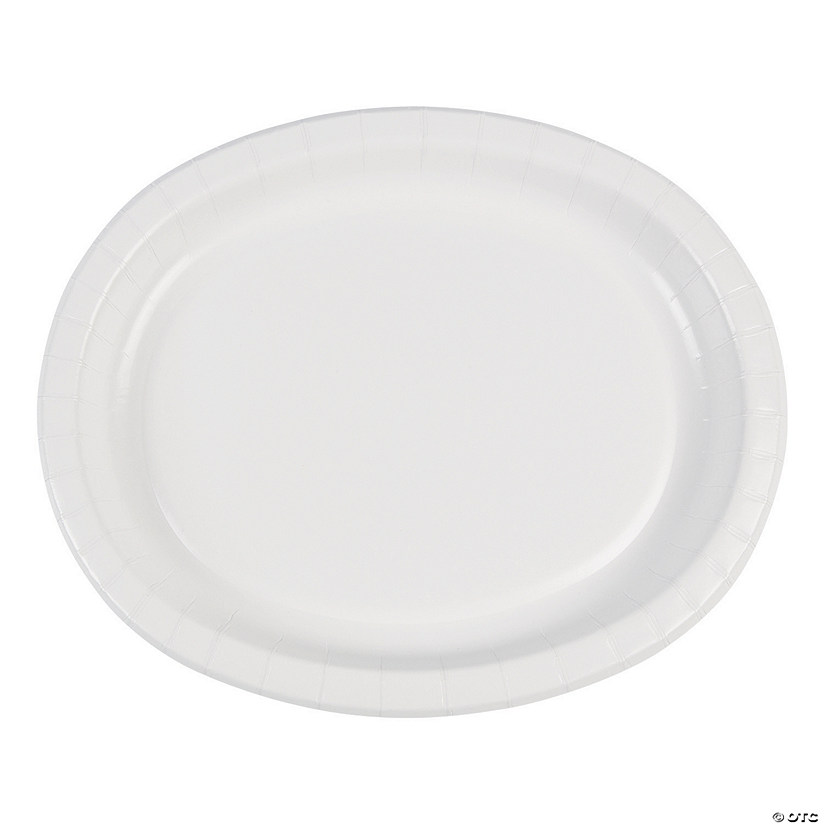 "12"" White Oval Paper Dinner Plates - 8 Ct. Audio Thumbnail"