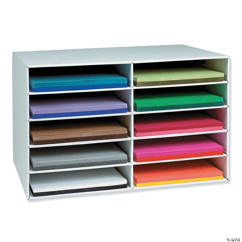"12"" x 18"" Construction Paper Storage, 10-Slot, White, 16-7/8""H x 26-7/8""W x 18-1/2""D Audio Thumbnail"
