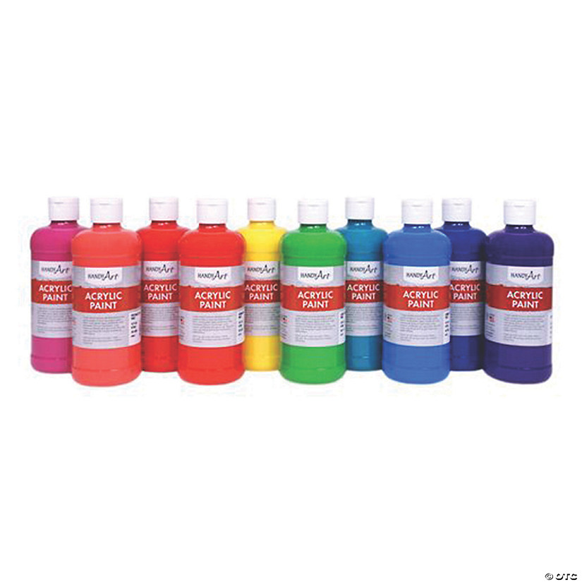 16-oz. Tropical Assorted Colors Acrylic Paint - Set of 10 Image Thumbnail