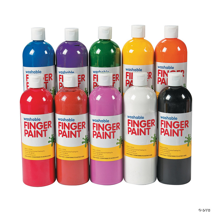 16-Oz. Washable Assorted Colors Finger Paint - Set of 10
