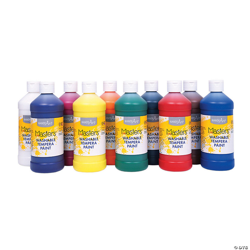 16-oz. Washable Classic Colors Tempera Paint - Set of 10