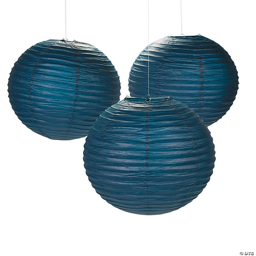 "18"" Navy Blue Hanging Paper Lanterns Audio Thumbnail"