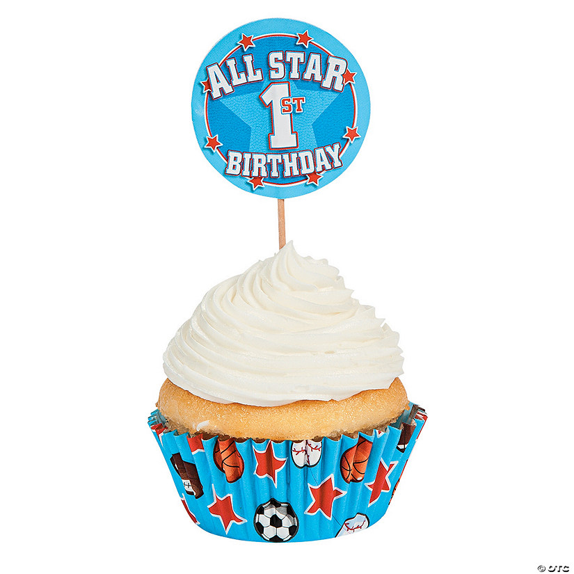 "1st Birthday ""All-Star"" Cupcake Liners with Picks Audio Thumbnail"