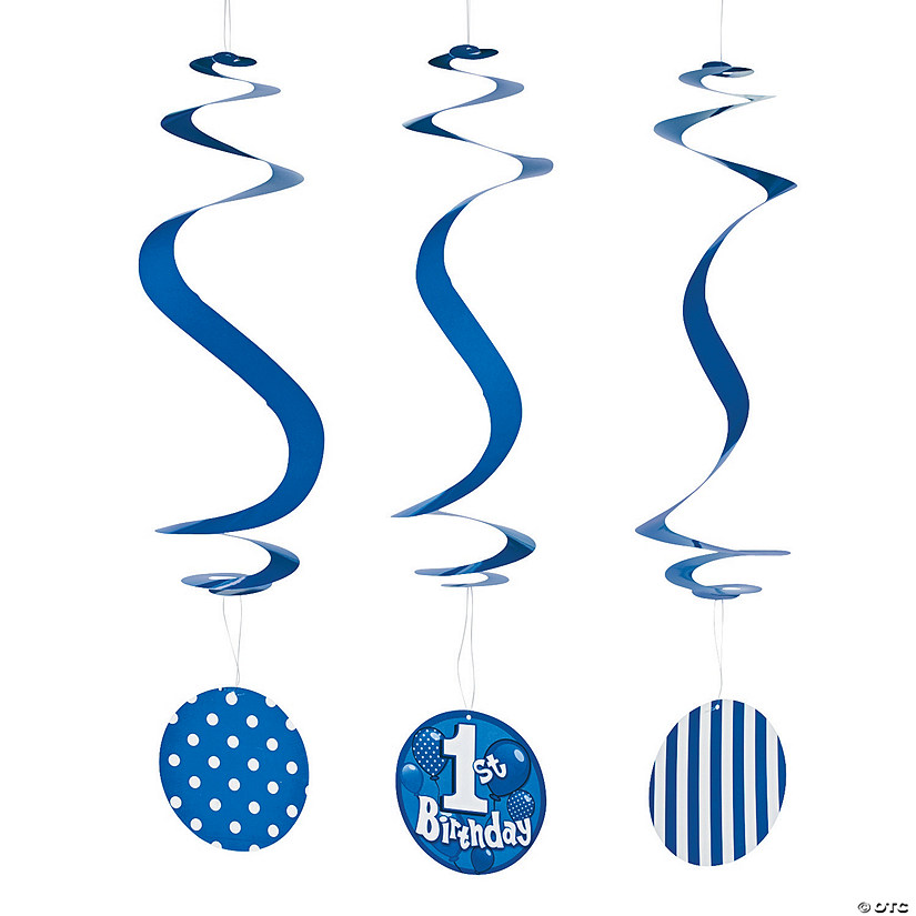 1st Birthday Blue Hanging Swirls Audio Thumbnail