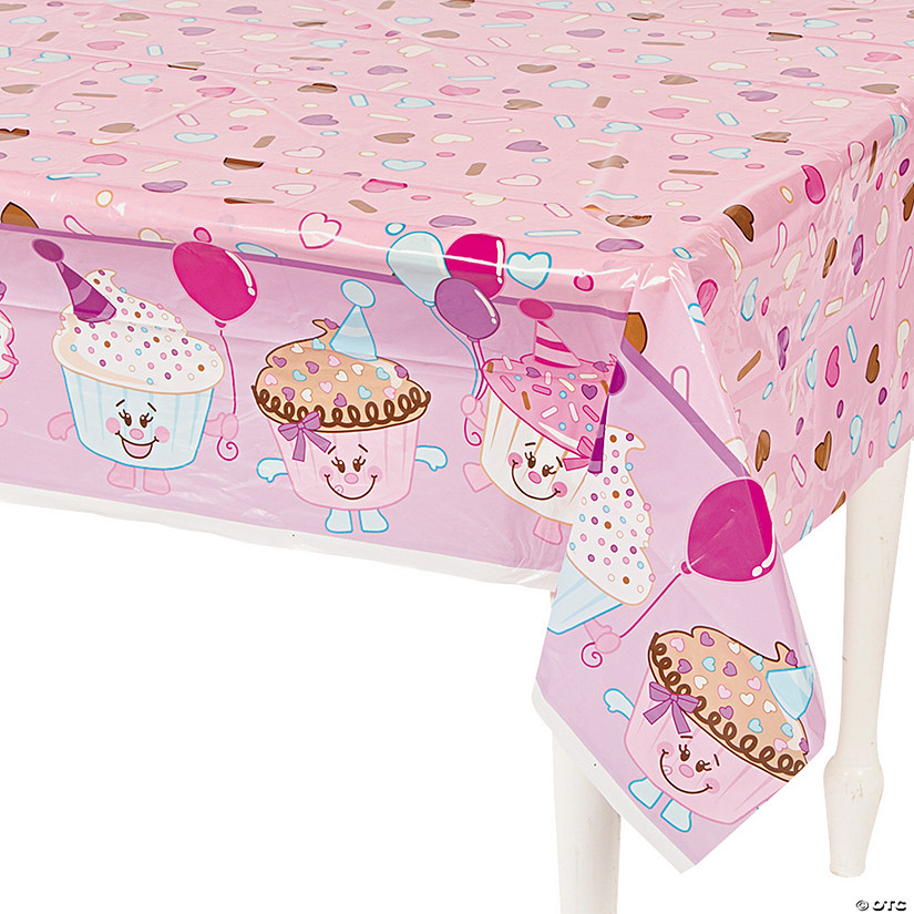 1st Birthday Cupcake Plastic Tablecloth Image Thumbnail