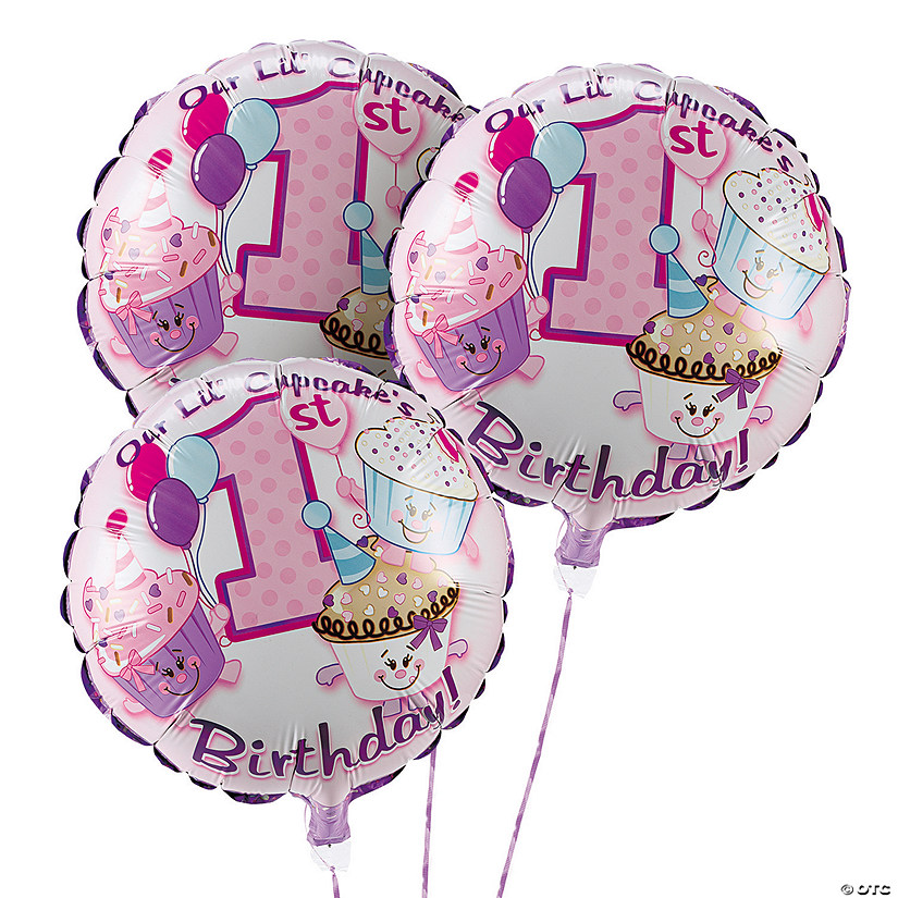 "1st Birthday Cupcake Sprinkles 18"" Mylar Balloon Set Audio Thumbnail"