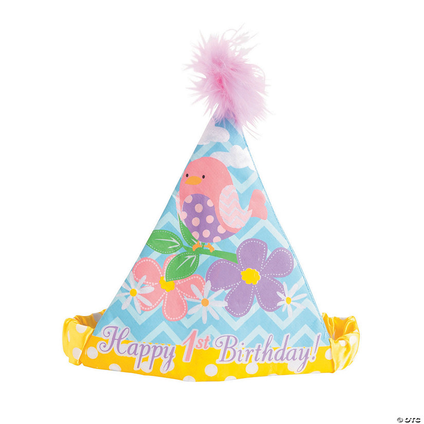 1st Birthday Flowers And Birds Cone Party Hat Audio Thumbnail
