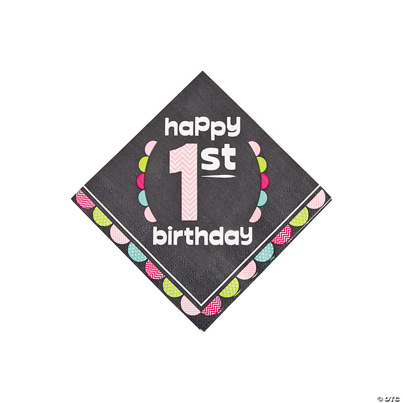 1st Birthday Girl Chalkboard Beverage Napkins Audio Thumbnail