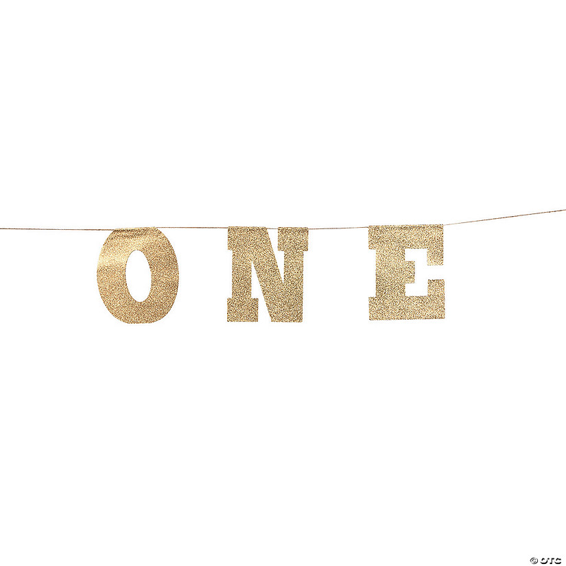1st Birthday Gold Glitter Garland