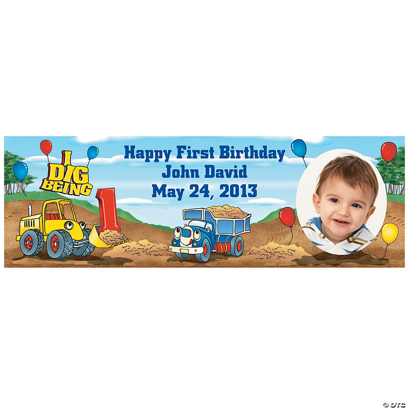 1st Birthday I Dig Being 1 Custom Photo Banner Audio Thumbnail