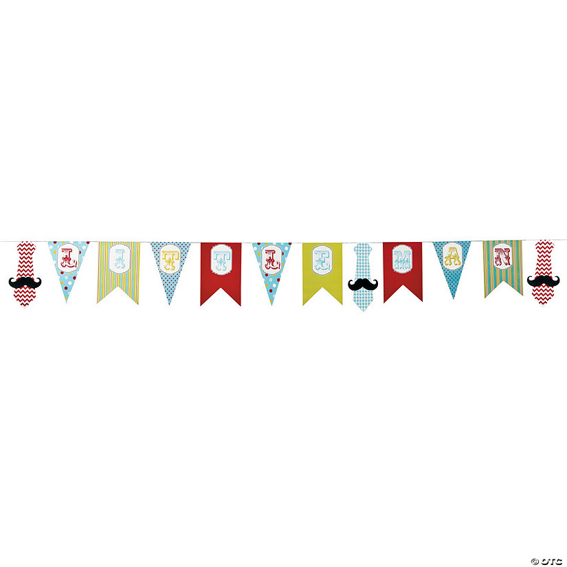 1st Birthday Little Man Cardboard Pennant Banner