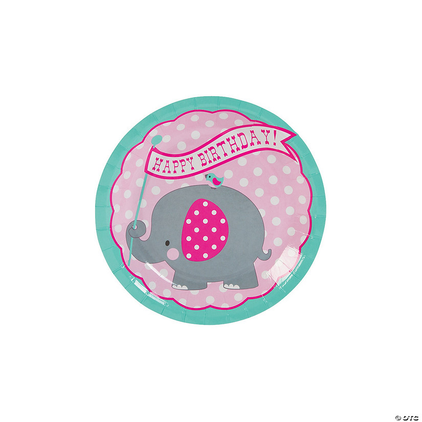 1st Birthday Pink Elephant Paper Dessert Plates - 8 Ct. Image Thumbnail