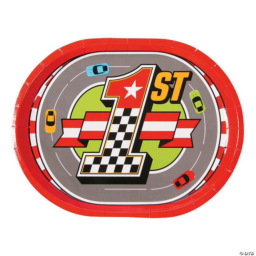 1st Birthday Race Car Paper Dinner Plates