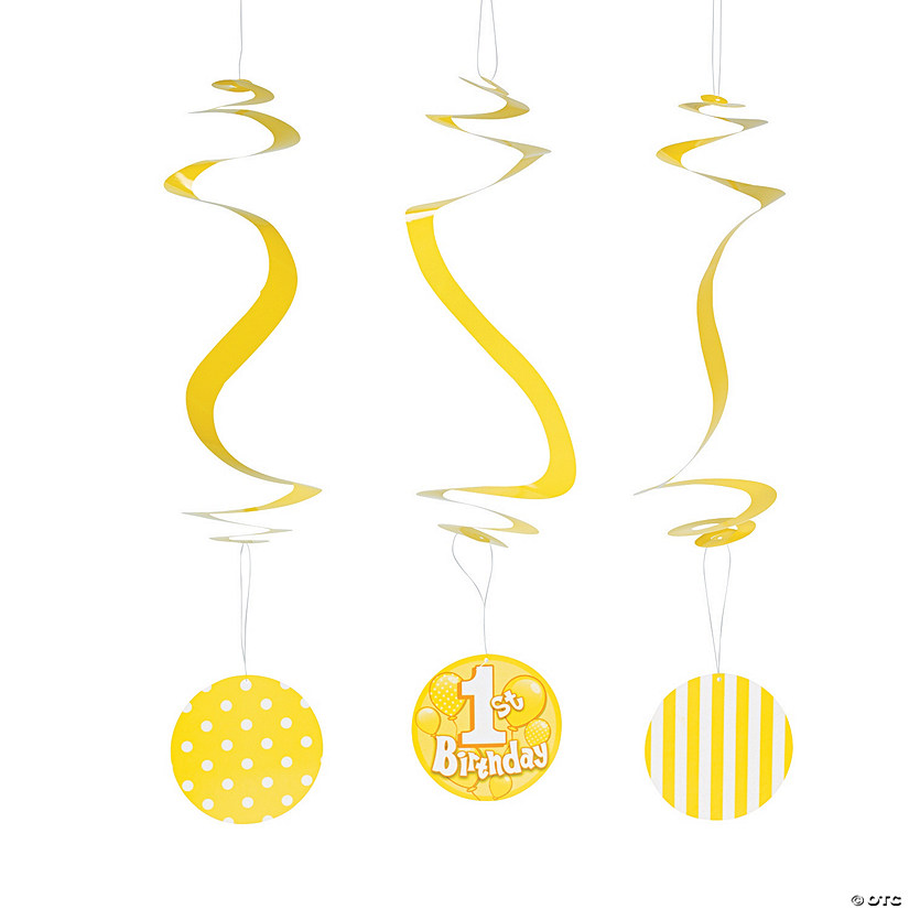 1st Birthday Yellow Hanging Swirls