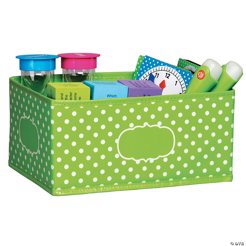 2 Ea Lime Polka Dots Storage Bin Small