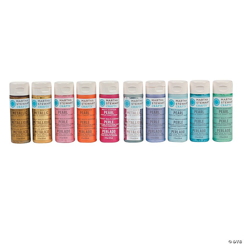 2-Oz. Martha Stewart Crafts™ Pearl & Metallic Assorted Colors Acrylic Paint - Set of 10 Audio Thumbnail
