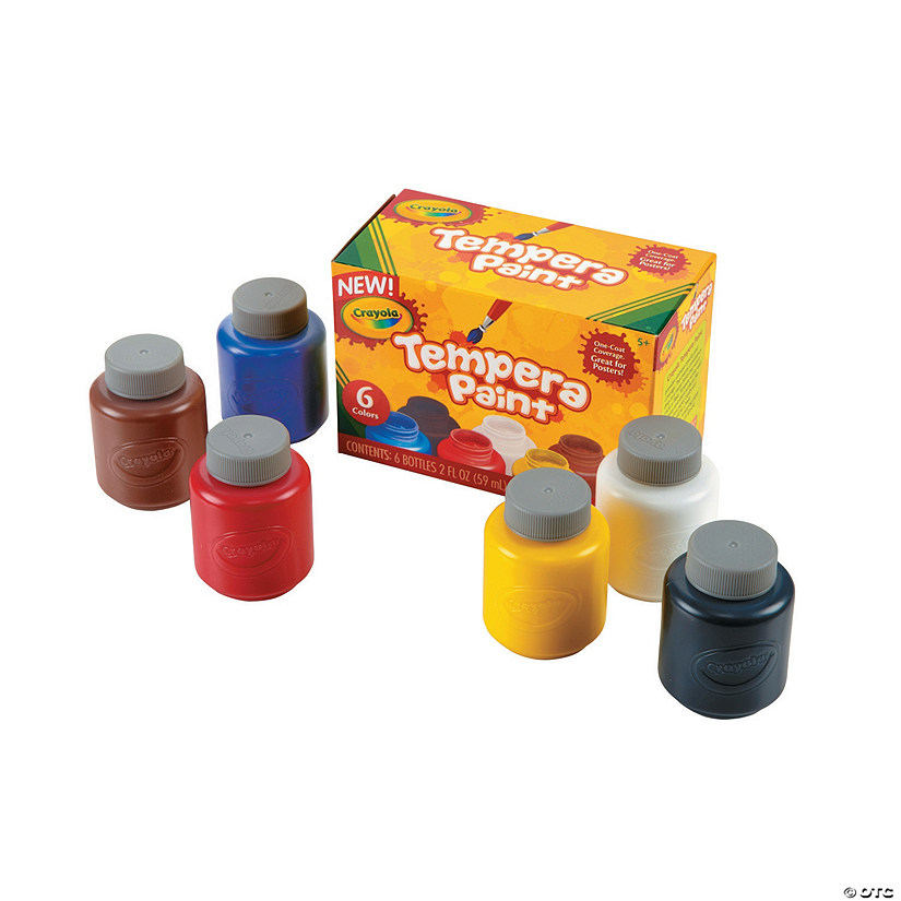 2-oz. Crayola® Assorted Colors Tempera Paints - Set of 6 Audio Thumbnail
