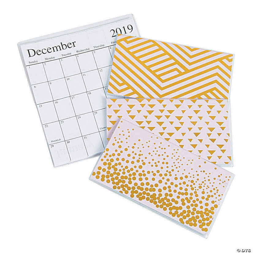 2019 - 2020 Pink & Gold Pocket Calendars