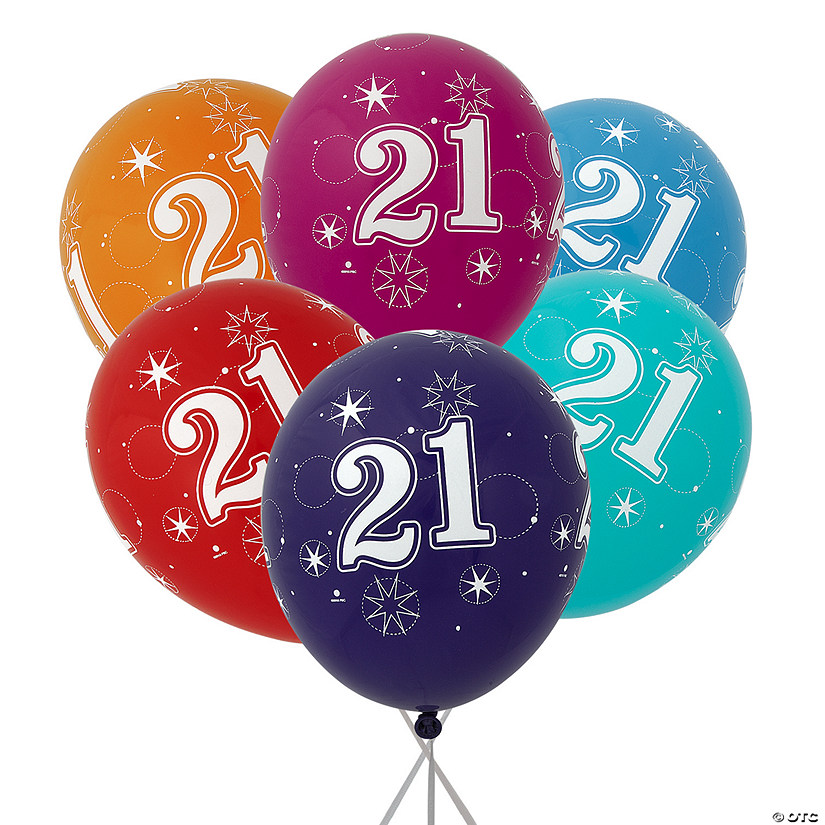 "21st Birthday Sparkle 11"" Latex Balloon Assortment Audio Thumbnail"