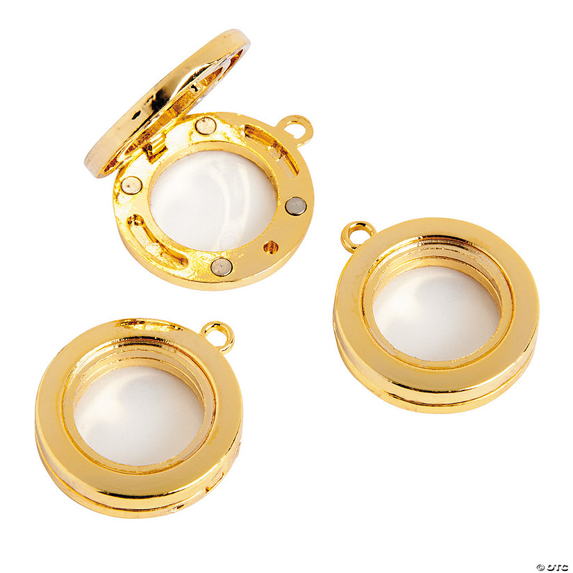 25mm Goldtone Lockets - 3 pc.