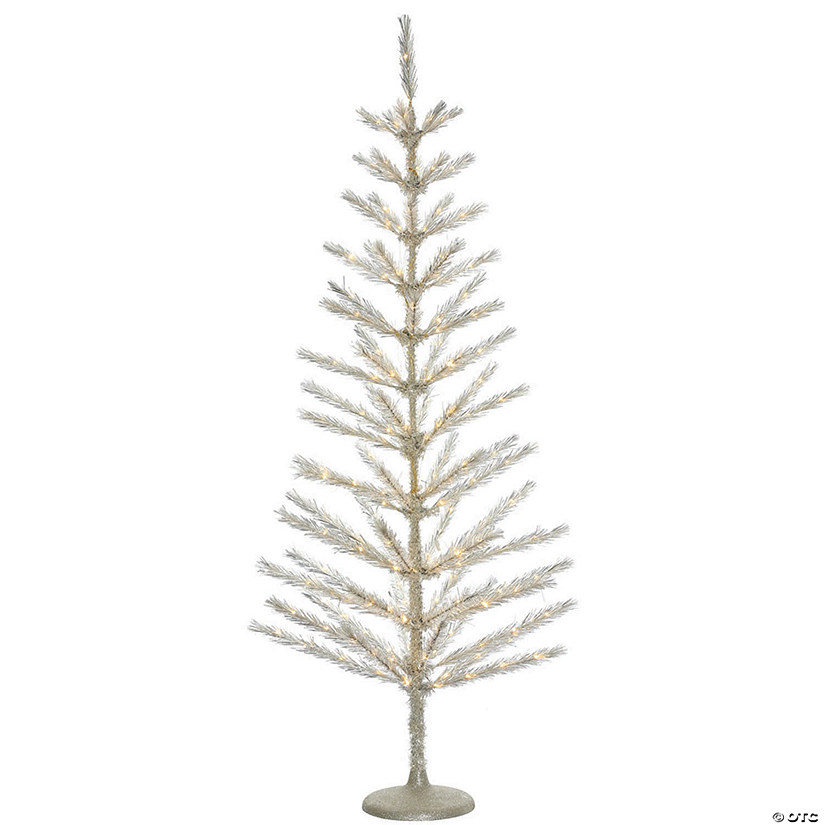 "3' x 16"" Champagne Feather Tree with Warm White LED Lights Image Thumbnail"