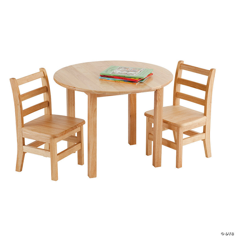 30in Round Hardwood Table with 22in Legs and Two 12in Chairs Audio Thumbnail