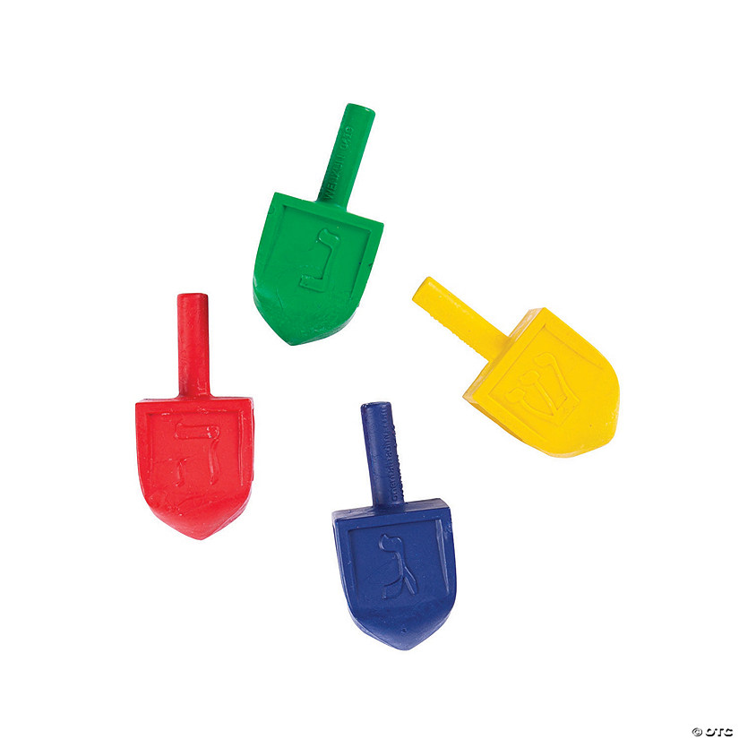 4-Color Dreidel-Shaped Crayons - 24 Pc. Image Thumbnail