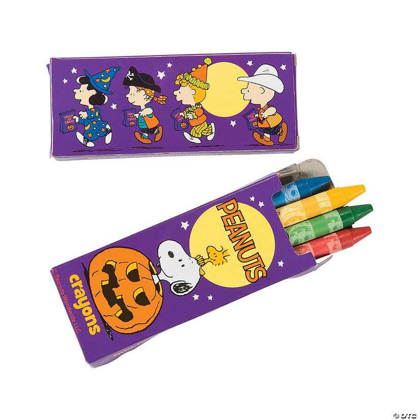 4-Color Peanuts® Halloween Crayons - 24 Boxes Image Thumbnail