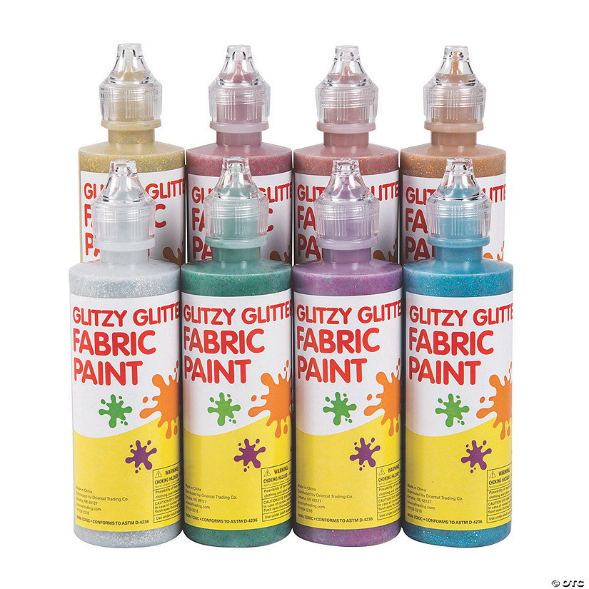 4-oz. Glitzy Glitter Assorted Colors Fabric Paint - Set of 8 Audio Thumbnail
