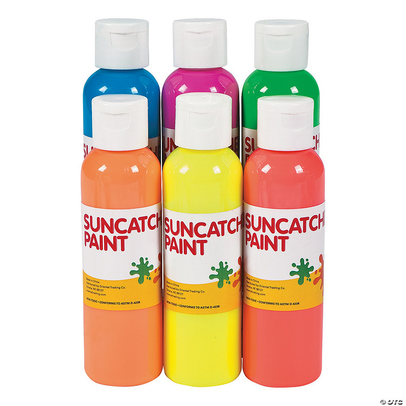 4-oz. Neon Assorted Colors Suncatcher Paint - Set of 10