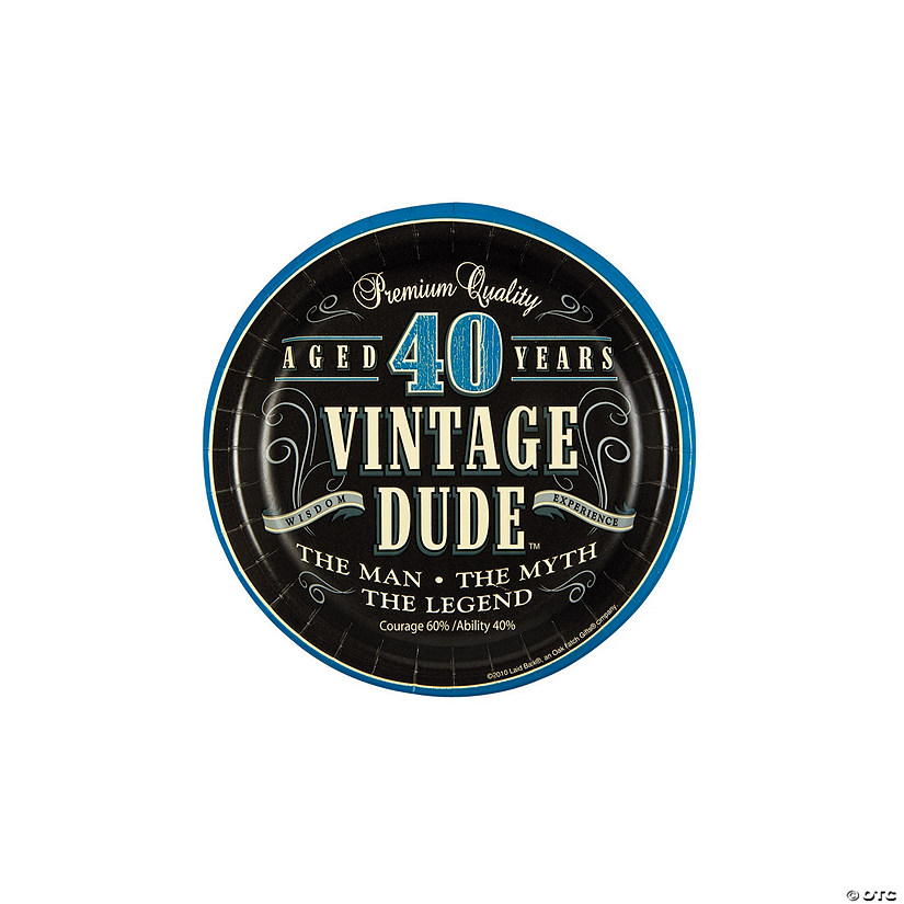 40th Vintage Dude Paper Dessert Plates - 8 Ct. Audio Thumbnail