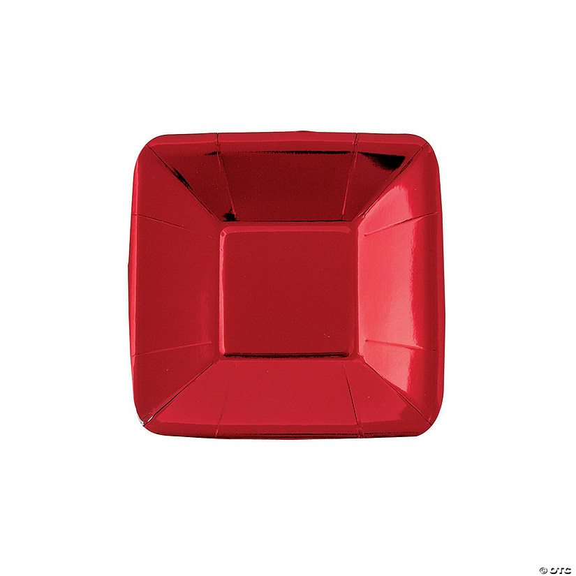 "5"" Metallic Red Square Paper Appetizer Plates - 8 Ct. Audio Thumbnail"