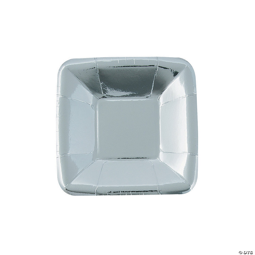 "5"" Metallic Silver Square Paper Appetizer Plates - 8 Ct. Audio Thumbnail"
