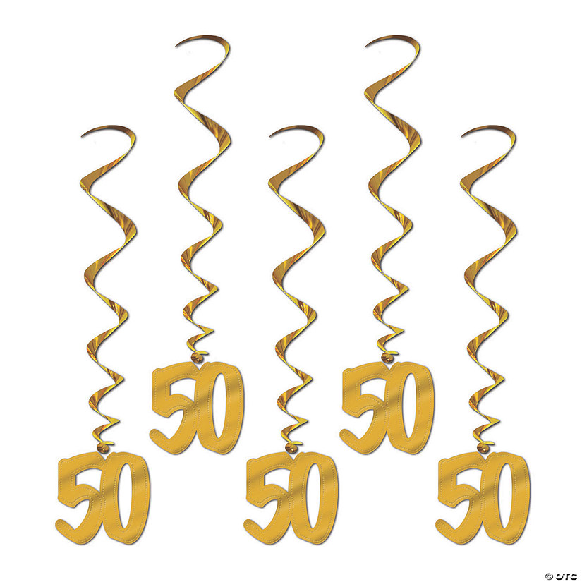 50th Anniversary Cutout Hanging Swirl Decorations - 5 Pc. Audio Thumbnail