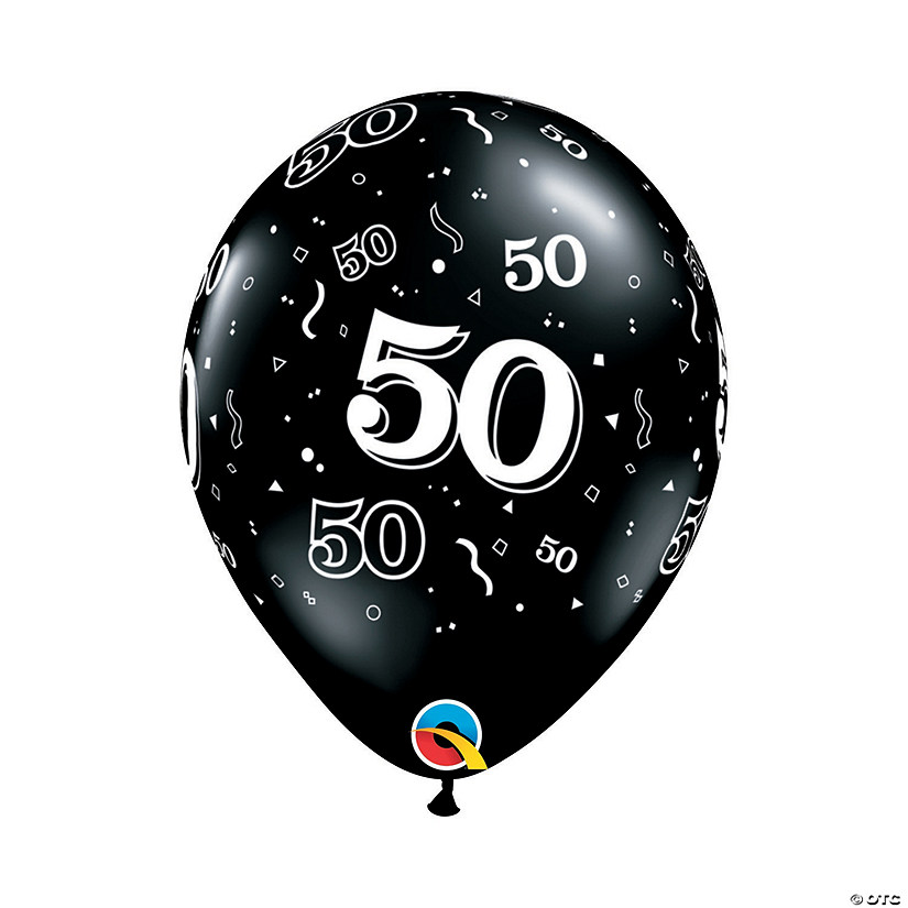 "50th Birthday Around Black 11"" Latex Balloons Audio Thumbnail"