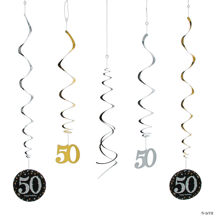 50th Birthday Sparkling Celebration Hanging Swirl Decorations - 12 Pc. Audio Thumbnail