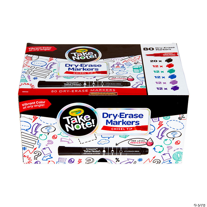 6-Color Crayola<sup>&#174;</sup> Take Note!&#8482; Chisel Tip Dry Erase Markers - 80 Pc. Audio Thumbnail