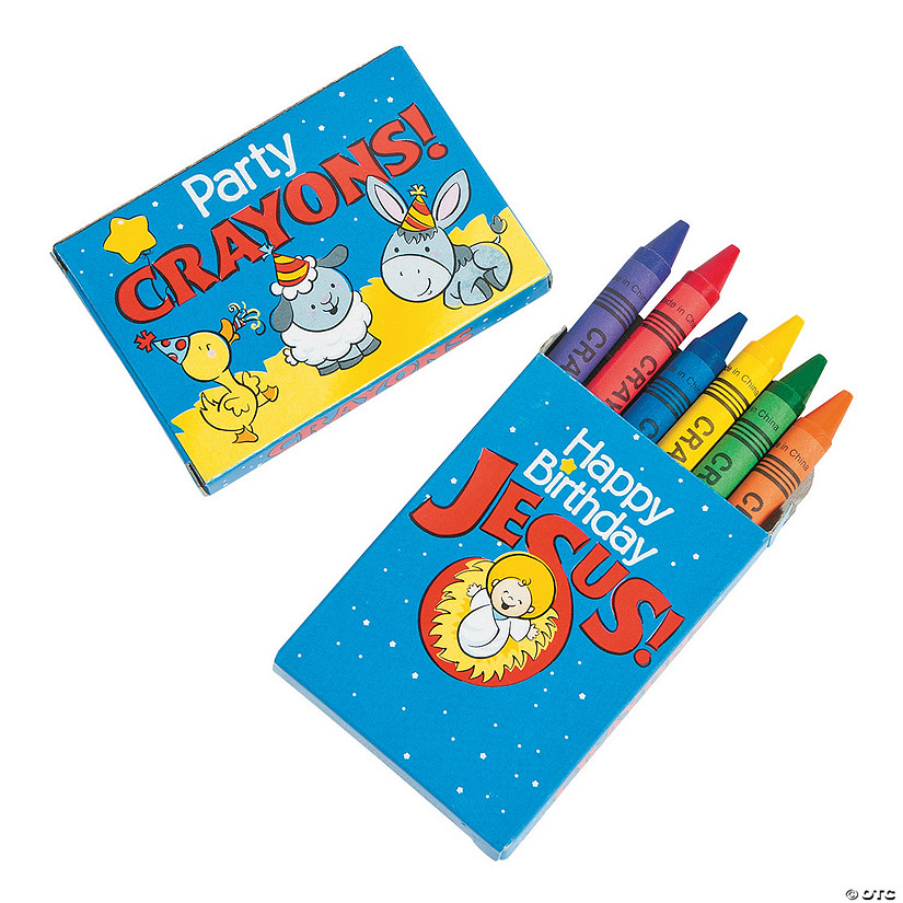 6-Color Happy Birthday Jesus Crayons - 24 Boxes Image Thumbnail