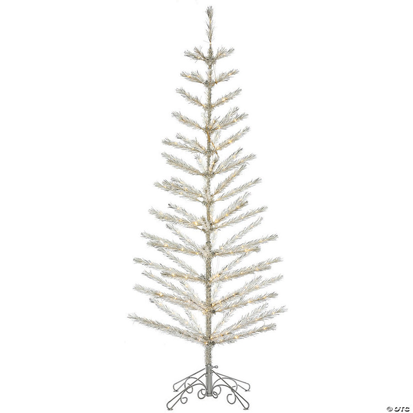 "6' x 28"" Champagne Feather Tree with Warm White LED Lights Image Thumbnail"