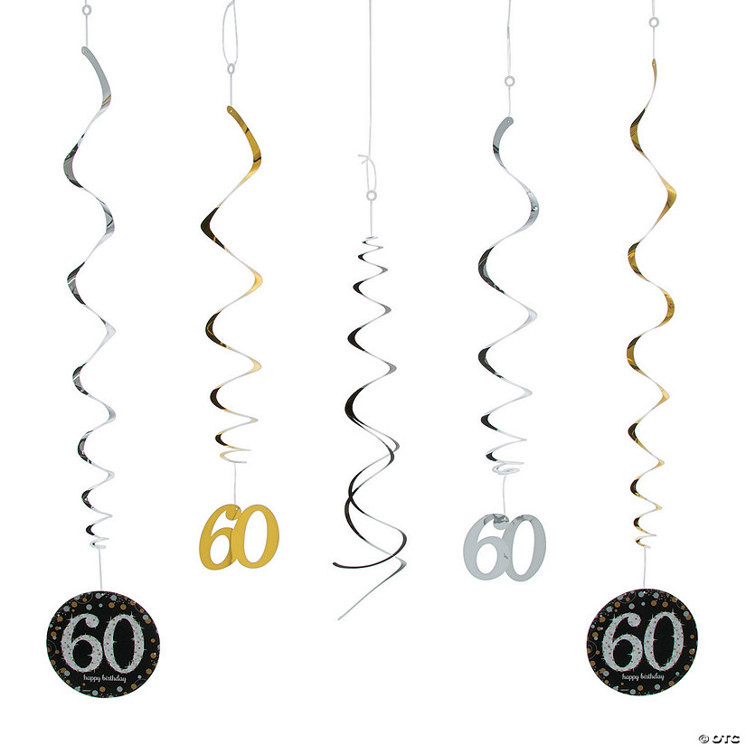 60th Birthday Sparkling Celebration Hanging Swirl Decorations - 12 Pc. Audio Thumbnail