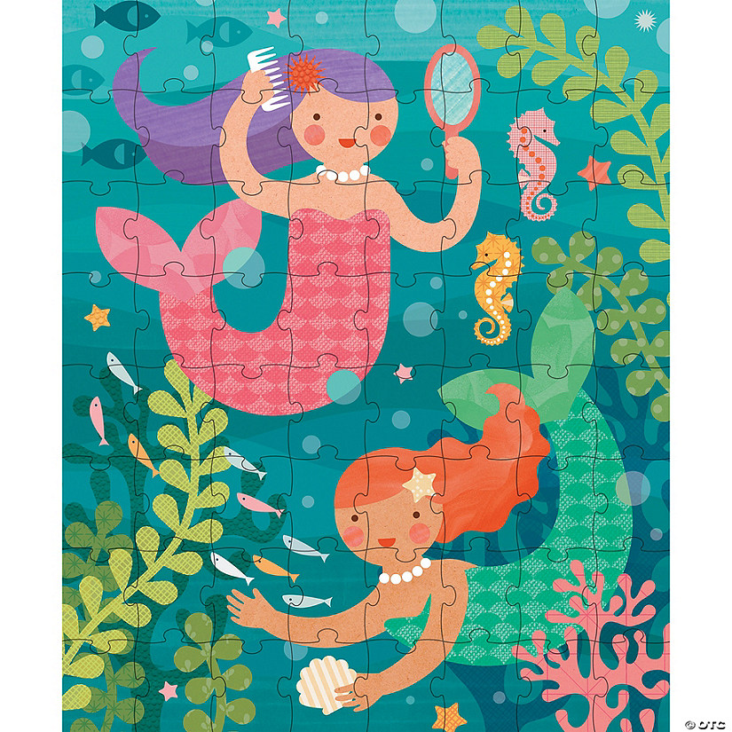 64-Piece Tin Canister Puzzle: Playful Mermaids